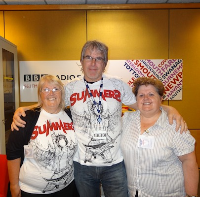Alex Dyke on BBC Radio Solent with Beryl and Maureen sporting Summers T's